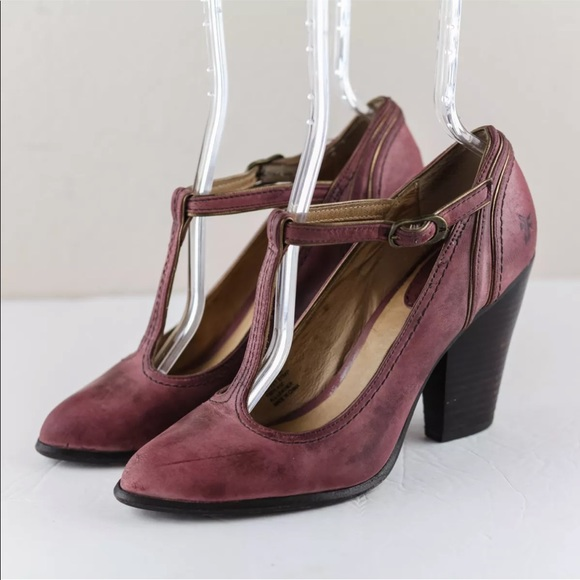 2c43225f0e82 Frye Shoes - Frye Betty Plum Distressed Leather T Strap Heels